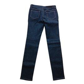 Givenchy-Pantalon en cuir et denim Givenchy, Taille fr36-Bleu