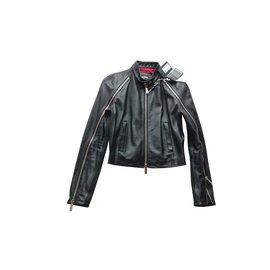 Dsquared2-Dsquared2 Veste cuir, Taille IT 42-Noir
