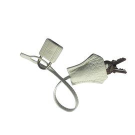 Hermès-Tirette Clochette cadenas Hermès-Blanc