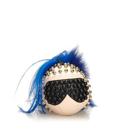Fendi-Fur-Trimmed Punkarlito Bag Charm-Black,Blue