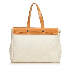 Hermès-Herbag Cabas MM-Brown,White,Cream