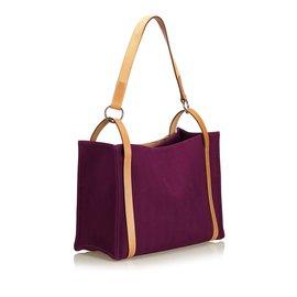 Hermès-Cabalicol Sac cabas en toile-Marron,Violet
