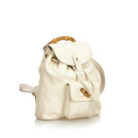 Gucci-Sac à dos à cordon en cuir de bambou-Blanc,Écru