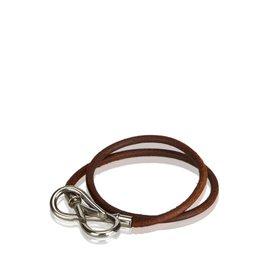 Hermès-Bracelet infini en cuir-Marron,Argenté