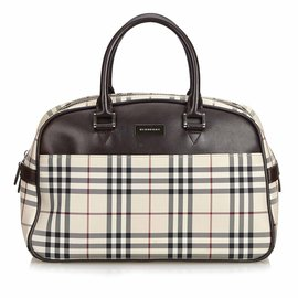 Burberry-Plaid Nylon Travel Bag-Brown,Multiple colors,Beige