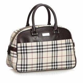 Burberry-Plaid Nylon Travel Bag-Brown,Multiple colors,Beige