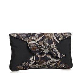 Gucci-Pochette en nylon à imprimé floral-Marron,Autre,Gris