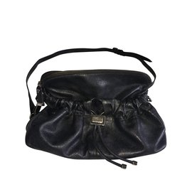 Burberry-Black grained leather bag with Burberry check fabrics.-Black,Dark grey