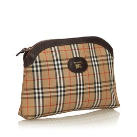 Burberry-Haymarket Check Jacquard Pouch-Brown,Multiple colors,Light brown