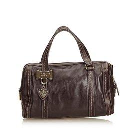 f85e0267b91c Gucci-Leather Duchessa Boston Bag-Brown