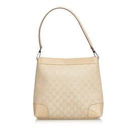 67a9cfc2955f Gucci-Guccissima Canvas Shoulder Bag-White