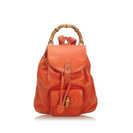 Gucci-Sac à dos à cordon en cuir de bambou-Orange