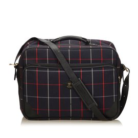 Burberry-Plaid Canvas Weekender-Blue,Multiple colors