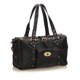 Mulberry-Leather Shoulder Bag-Black