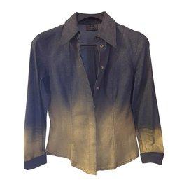 7c00a1d29e66 Fendi-Veste en jeans FENDI-Doré,Bleu foncé ...