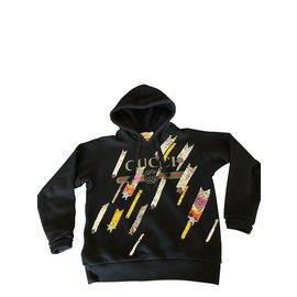 Gucci-Sweat à capuche GUCCI avec sequins et bijoux-Noir ... 934f40964cb