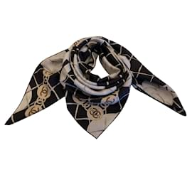 Chanel-CHANEL SILK SCARF-Black