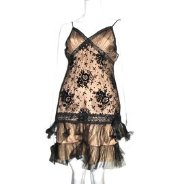 Anna Sui-Cocktail dress from satin tulle and lace-Black,Bronze