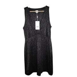 Halston Heritage-Lurex dress-Black,Silvery