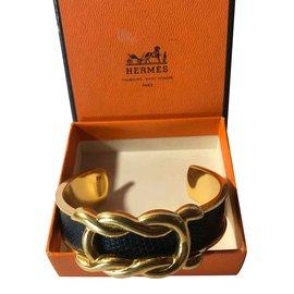Autre Marque-Bracelet Hermès «Demi Jonc» Cuir grainé Bleu Marine /Plaque Or *Collector*-Bleu foncé