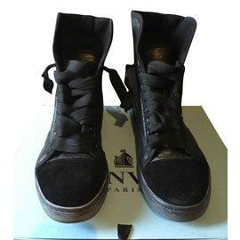 Lanvin-Basket haute en cuir et laine noire Lanvin-Noir
