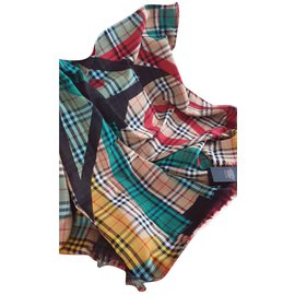 Burberry-Poster Graphic Print Wool Silk Large Square Scarf-Multiple colors