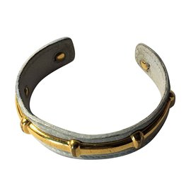 "Hermès-Vintage Hermès Bracelet ""Half Bangle"" in Gold Plated 18 carats and White grained leather-White"