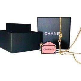 Chanel-Collier chanel-Noir,Rose,Doré