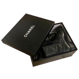 Chanel-avec boite! bottines à lacets-Noir