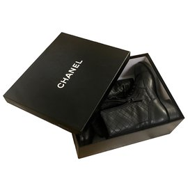 Chanel-with box! lace up ankle boots-Black