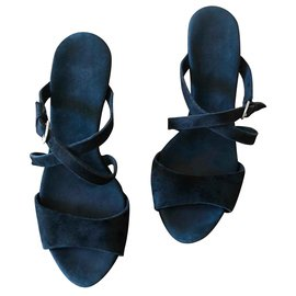 """Ugg-sandales compensées daim noir """"Jullita"""" UGG® Austrzlian°38-Noir,Beige"""
