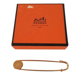 Hermès-Hermes pin safety pin saddle nail-Golden