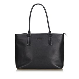 Burberry-Leather Tote Bag-Black