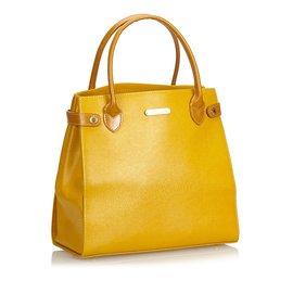 Burberry-Leather Handbag-Yellow