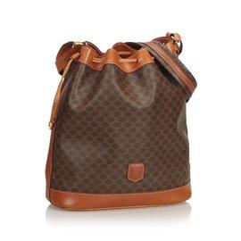 Céline-Macadam Drawstring Bucket Bag-Brown