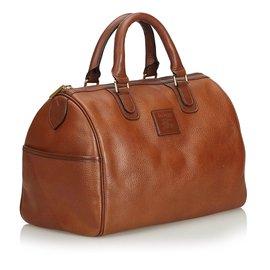 Burberry-Leather Boston Bag-Brown