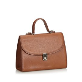 Burberry-Leather Satchel-Brown,Light brown