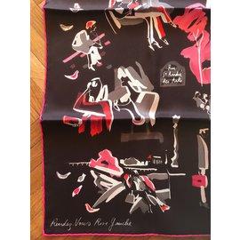Hermès-Carré Hermès 70 soie vintage Rendez-vous Rive gauche-Marron