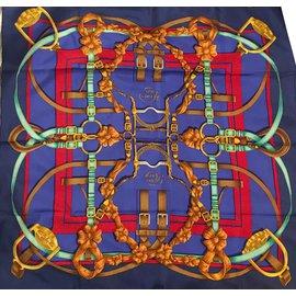 """Hermès-Superbe carré Hermès """"Grand Manège"""" par H. d'Origny en soie, état neuf !-Rouge,Bleu"""