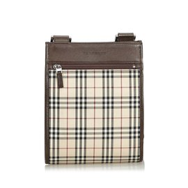 Burberry-Plaid Coated Canvas Crossbody Bag-Brown,Multiple colors,Beige