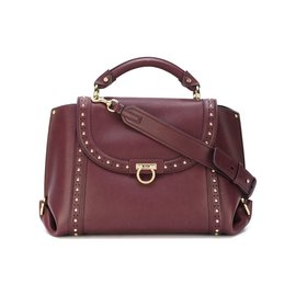 Salvatore Ferragamo-Medium Studded Leather Sofia Satchel-Red,Dark red ... c3182c12c0