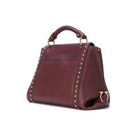 ... Salvatore Ferragamo-Medium Studded Leather Sofia Satchel-Red,Dark red 2b6d509e5f