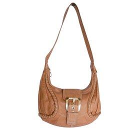 Céline-Celine Leather Shoulder Bag-Cognac
