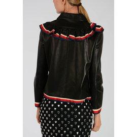 Gucci-Gucci veste en cuir à volants neuf-Noir
