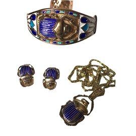 Vintage-Ensembles de bijoux-Argenté,Blanc,Bleu,Doré,Bleu Marine,Bleu clair,Turquoise,Bleu foncé