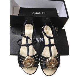 Chanel-Sandales-Noir,Doré