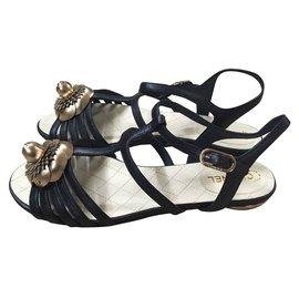 Chanel-Sandals-Black,Golden