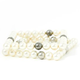 Chanel-SQUARE WHITE PEARLS BANGLES-Argenté