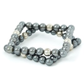Chanel-SQUARE GRAY PEARLS BANGLES-Silvery