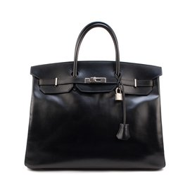 Hermès-Exceptional Hermès Birkin 40 black box leather, palladium hardware in very good condition!-Black